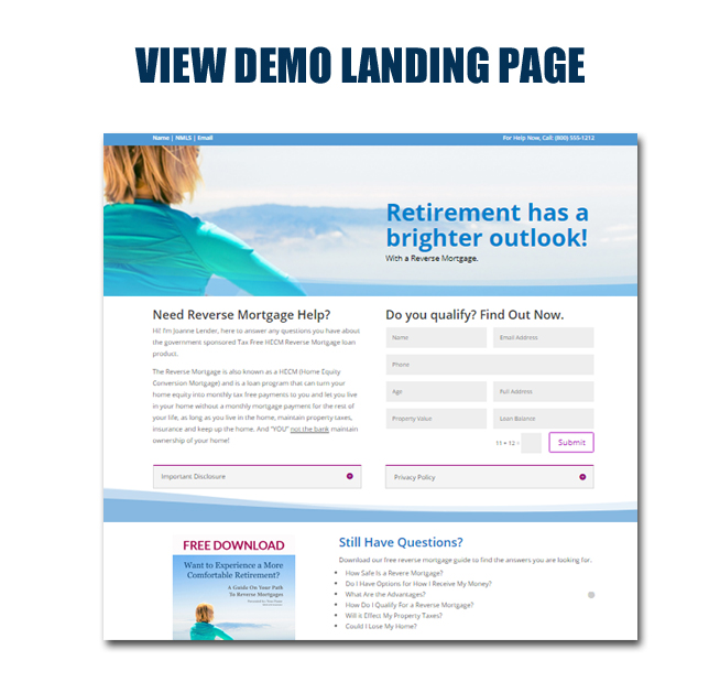 View Reverse Mortgage Landing Page Example